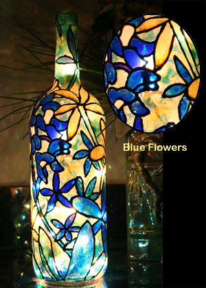 Decorative Wine Bottles Lights Awesome Lighted Hand Painted Bottles Design Inspiration