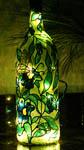 Butterflies & Blue Flowers Wine Bottle
