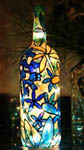 Blue Flowers Painted Wine Bottle