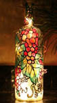 Pink Grapes Painted Wine Bottle