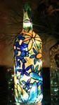 Blue Flowers Painted Wine Bottle