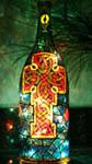 Celtic Cross Painted Wine Bottle