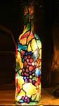 Grape Vine Small Painted Wine Bottle